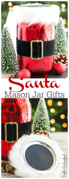 These easy Santa mason jar Christmas gifts are so beautiful that the recipient can later reuse the mercury glass jar as home decor or a storage container!
