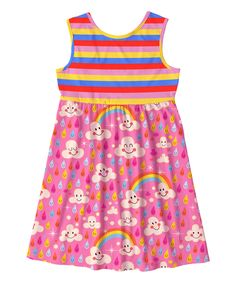 Take a look at this Sunshine Swing Pink Rainbow & Raindrop Empire-Waist Dress - Toddler & Girls today!