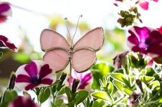 Pink stained glass butterfly plant stake. For your garden and balcony. Each one is handmade and unique Butterfly Plants, Glass Butterfly, Pink Butterfly, Balcony, Stained Glass, Unique, Garden, Handmade, Hand Made