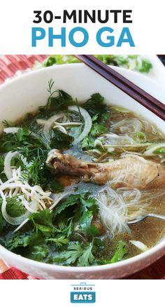 A pressure cooker can transform pho from a six-hour dish into one that only takes 30 minutes. We cook up chicken drumsticks with aromatics to make a rich, fragrant broth that we serve on top of rehydrated pho noodles. While the soup is cooking take a minute to prepare a variety of fresh garnishes: cilantro, scallions, bean sprouts, and hot Thai chilies.