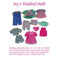 """Clothing Patterns for 13"""", 14"""" & 16"""" Dolls - Joy's Waldorf Dolls - A Child's Dream Come True"""