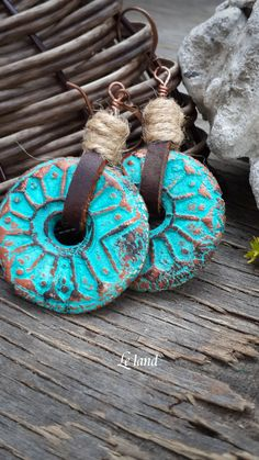 Leather cord earrings Boho Dangle Earrings in turquoise Long Dangle Earrings…