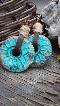 Pendientes de cordón de cuero pendientes de Boho por Lelandjewelry