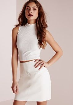 Ribbed High Neck Crop Top White