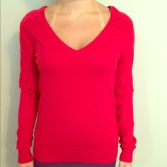 Lacoste red sweater with satin back size S Lacoste red sweater with satin back size S Lacoste Sweaters V-Necks
