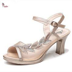 La mode des femmes d'été confortables sandales hauts talons,35 Silver - Chaussures rugai ue (*Partner-Link)