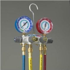 Yellow Jacket 49967 Titan 4-Valve Test and Charging Manifold degrees F, psi Scale, R-22/404A/410A Refrigerant, Red/Blue Gauges  http://www.cheapindustrial.com/yellow-jacket-49967-titan-4-valve-test-and-charging-manifold-degrees-f-psi-scale-r-22404a410a-refrigerant-redblue-gauges-2/