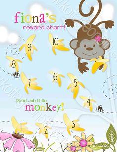 Go Bananas Girlfriend - Printable PDF Reward Behavior Chore Sticker Potty Chart - PERSONALIZED with your Child's Name at www.kottageon5th.etsy.com Boy Printable, Printables, Potty Training Boys, Kids Mental Health, Reward System, Behaviour Chart, Kids Behavior, Teaching Tools, Kid Names