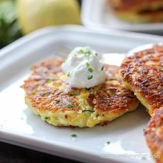 Low Carb Zucchini fritters (zucchini pancakes) are delicious on their own or with a dollop of sour cream. Enjoy at breakfast, lunch, dinner or as a snack.