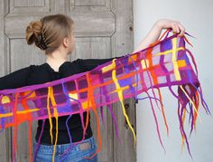 Nuno felted spring funny scarf purple orange yellow by filcAlki