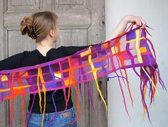 Nuno felted spring funny scarf purple orange yellow by filcAlki