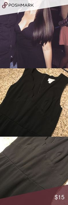 Black Low Cut Skater Dress Very comfy low cut dress! Pretty scalloped features on the neck line! Full zipper down the back. Heavy material. Macy's Dresses Mini