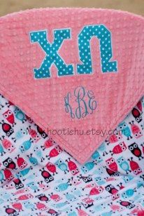 Sorority Minky Blanket  Chi Omega   Greek. Thinking about one of these blankets for Rylee. Minus the sorority logo of course ;) love us some Hootie Hu