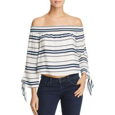 Lovers and Friends Dream Lover Off-the-Shoulder Stripe Top (560 ILS) ❤ liked on Polyvore featuring tops, striped top, off the shoulder tops, knot top, nautical top and stripe top