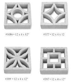 Breeze blocks http://retrorenovation.com/2010/04/26/where-to-buy-decorative-concrete-screen-blocks/