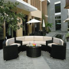 Beautiful Ohana Outdoor Patio Wicker Furniture Sectional 5 pc couch set.  #outdoorfurniture #patiofurniture