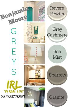 See the perfect grey paint colors in real life rooms- Love Revere Pewter, definitely going in the new house