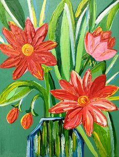 Floral acrylic medium size palette knife impasto spring color painting