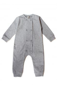 Gray Label Double Breasted Babysuit Grey Melange