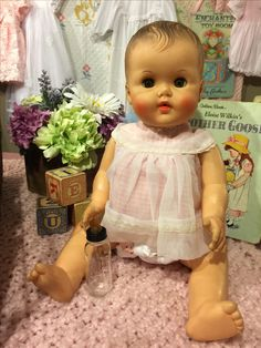 Sweet little baby bannister doll by Sun Rubber company (1950's) Tammys