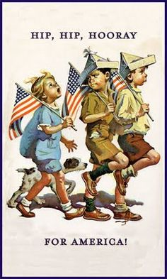 Hip Hip Hooray For America (I believe.a Norman Rockwell painting) I Love America, God Bless America, Awesome America, Images Vintage, Vintage Postcards, Vintage Artwork, Vintage Ideas, Vintage Decor, Vintage Style