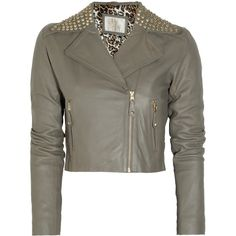 Sara Berman Danielle Studded Cropped Leather Jacket ($325) ❤ liked on Polyvore