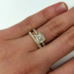 A lower colored emerald cut stunner in yellow gold. Makes my heart go pitter-patter! ♥