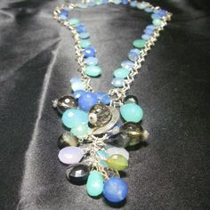 Mixed Sea Blue, Chalcedony, Silver Necklace