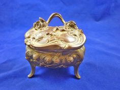 Vintage Jewelry Box Heavy Metal Ornate Hinged by SheLeftUsThis, $74.95