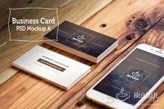 """Photorealistic PSD business card mockup named """"A"""". Scene with iPhone 6 on wooden table. You can use more filters to stylize your picture. Our """"Mocups"""" are Glass Dropper Bottles, Green Glass Bottles, Web Mockup, Mockup Templates, Design Templates, Bottle Mockup, Business Card Mock Up, Creative Words, Free Design"""