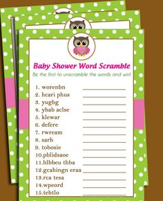 Owl Baby Shower Word Scramble Printable - Lil' Owl Collection - Girl Owl - INSTANT DOWNLOAD on Etsy, $8.00