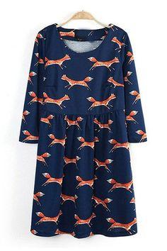 Cute Fox Printing Fashion Dress.