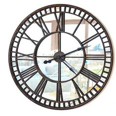 belle maison large iron steeple clock with mirror face 81cm - Mirrored Wall Clock