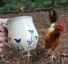 Walking Bird Pottery Mug MADE PER ORDER от PopjoyPottery на Etsy