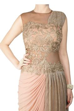 Featuring half crinkle gold and lycra draped saree with lace embroidary Designer Dress For Men, Designer Wear, Designer Dresses, Drape Sarees, Drape Gowns, Gown Dress, Buy Dress, High End Fashion, Dress Online