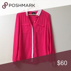 Maeve top from Anthro Hot pink top with light pink details. Very flattering. Purchased from Anthropologie. Worn twice. Anthropologie Tops Blouses