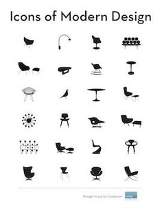 icons of modern design (PDF booklet and vector art) Diy Design, Design Art, Graphic Design, Nordic Design, Design Ideas, Modern Love, Modern Art, Modern Decor, Chair Design