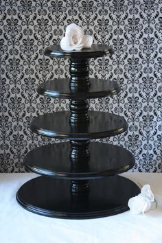 Wedding Cupcake Stands, wooden | FOR CAREY Cupcake Tower - 5 - Tier, 16 inch base, Solid Wood Wedding ...
