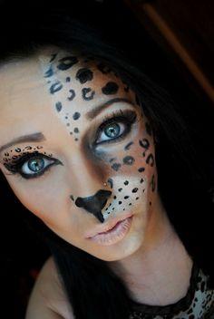 halloween schminke frauen tiere leoparden hälfte gesicht