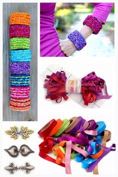 Locker Hooking Bracelet Kits with new Satinique Fabric Strips for locker hooking 15% Off | gocolorcrazy