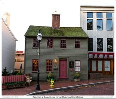 A circa 1810 Colonial style State Circle building depicts a slight lean to the right and has moss on its roof in Annapolis Maryland. Photograph published on November 12th 2016. To view an enlarged version of the associated Annapolis Experience Blog post photograph, along with the post itself, click on the Visit button. Image and article Copyright © 2016 G J Gibson Photography LLC and G Gibson Photo Art.