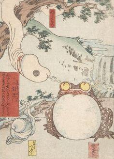 Untitled (Shunga Ghost Print) by Utagawa Kuniyoshi mid century. Japan Illustration, Japanese Drawings, Japanese Prints, Tattoo Japanese, Ancient Myths, Kuniyoshi, Spring Pictures, Japan Art, Woodblock Print