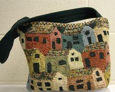 Houses purse 1 Love this. Wool Mats, Rug Hooking Designs, Hand Hooked Rugs, Carpet Bag, Braided Rugs, Penny Rugs, Freeform Crochet, Wool Applique, Cool Rugs