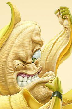 Oscar Ramos drawing - Banana fights french fries and wins - #banana #food #fight