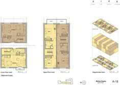 "Via Verde (Bronx, New York, 222 units) floor plan for duplex-style apartments. necessitated by the ""narrow footprint and relatively shallow depth (48'). Each unit has a first floor that is half the building's depth (split by the access corridor) and consists of a kitchen, bathroom, and living room. The second floor has two bedrooms and a bathroom that spans the building's depth, but is only half the width of the unit's first floor."""