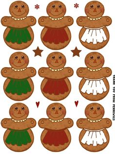 18 Prim Paper Dolls Gingerbread APRON Annies Christmas Printable Tags Garland - Raggedy Anns Paperdolls. $2.75, via Etsy.