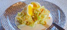 Chinese koolstamppot met wortel, kaas en een zachtgekookt eitje