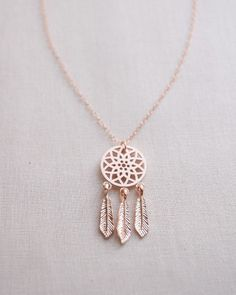 Dream Catcher Necklace | Rose Gold Jewelry |  Simple and Elegant Jewelry | Boho Style
