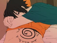 If u pay attention here you will notice Sasuke is laying on Naruto :3