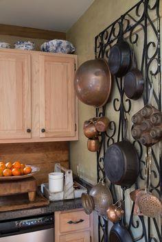 Bekye Fargason Small Blessing  garden trellis as pot rack... nice counter tops for new house
